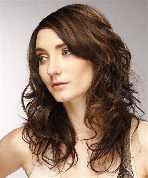 brunette hairstyles wiyh swept away bangs long wavy casual hairstyle with side swept bangs dark