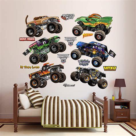 monster truck bedroom decor cartoon monster jam trucks collection wall decal shop