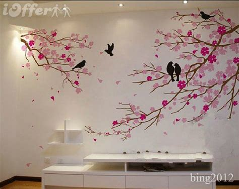 Salle De Bain Parement 623 by Tree Wall Cherry Blossom With Birds Wall Decal Tree