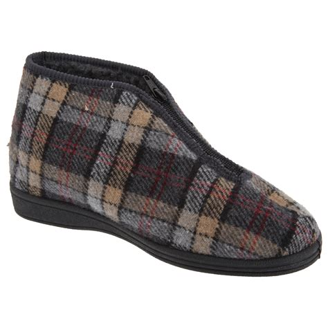 zip slippers sleepers mens jed ii thermal zip check bootee slippers 7