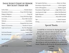 eagle scout court of honor eagle scout ceremony program