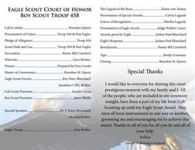 eagle court of honor program template eagle scout court of honor eagle scout ceremony program