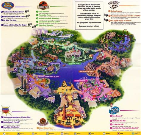 islands of adventure map theme park brochures islands of adventure theme park brochures