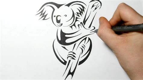 koala tattoo designs drawing a koala tribal design style tatoos