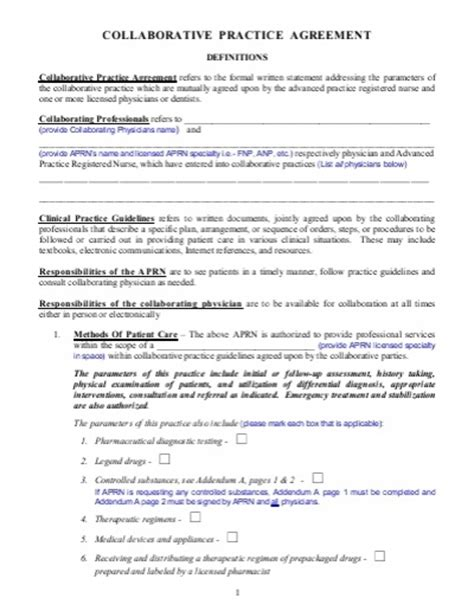 Collaborative Agreement Np Practitioner Collaborative Agreement Template