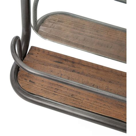 Shelf With Mirror And Hooks by Stewart Industrial Loft Wood Iron Hooks Hallway Mirror