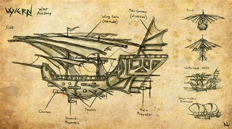 airship design the wyvern by natal ee a on deviantart