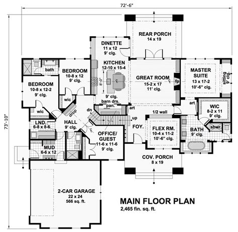1st floor house plan featured house plan pbh 9716 professional builder house plans