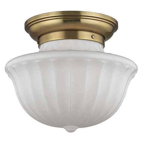 hudson lights shopping center dutchess 2 light semi flushmount light aged brass