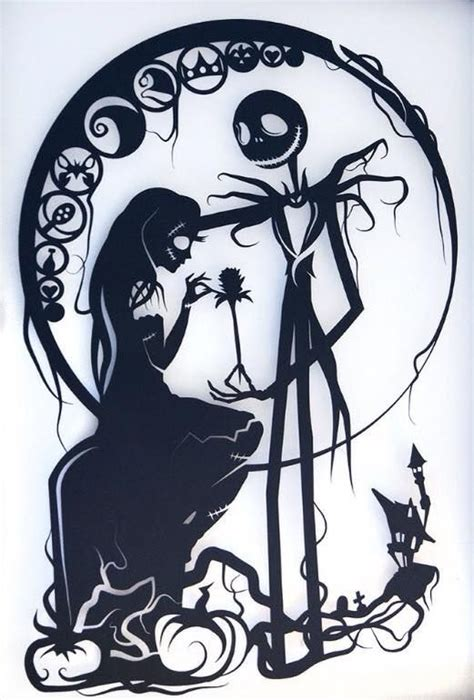 silhouette tattoo paper instructions nightmare before christmas silhouette handcut paper craft
