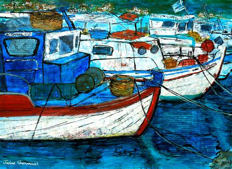 fishing boat greece greek fishing boats painting by jackie sherwood