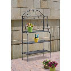 Outdoor Bakers Rack Plant Stand Mainstays Outdoor Baker S Rack And Plant Stand Black