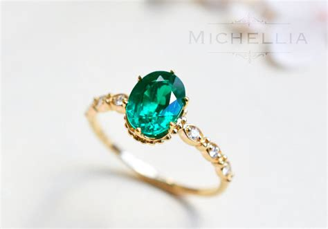 14k 18k emerald engagement ring with solid gold
