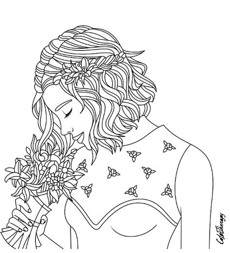 coloring pages for therapy girl with bouquet coloring page color therapy app try