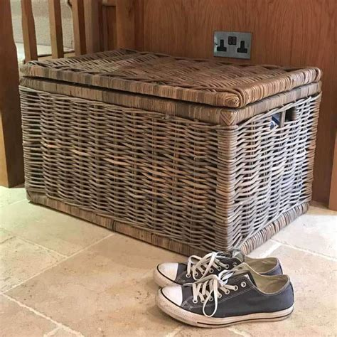large grey rectangle wicker storage chest  lid duck