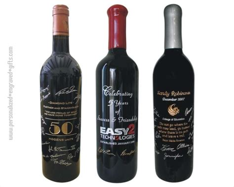 custom wine bottles engraved with signatures unique