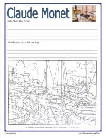 monet coloring pages artist study hearts