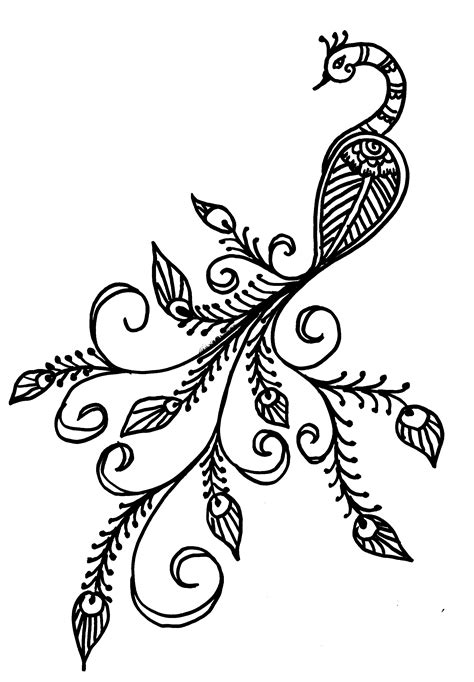 henna tattoos to draw easy peacock drawing images peacock