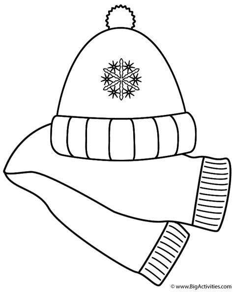 snow hat coloring page scarf and winter hat coloring page clothing