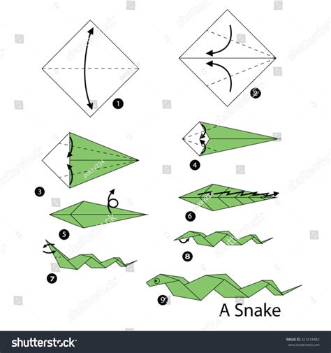 How To Make An Origami Snake - step by step how make stock vector 321618482