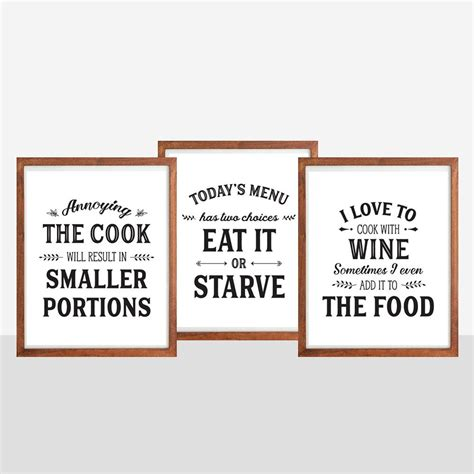 set  kitchen prints kitchen quotes funny kitchen  bonmotprints