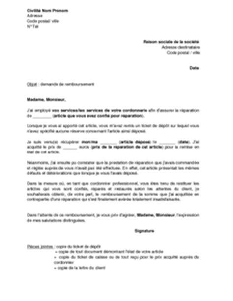 Demande De Remboursement Lettre Type Lettre De Demande De Remboursement Au Cordonnier Pour R 233 Paration Insatisfaisante Mod 232 Le De