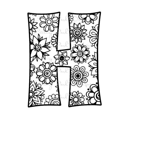 color h awesome mandala coloring pages letter h design printable
