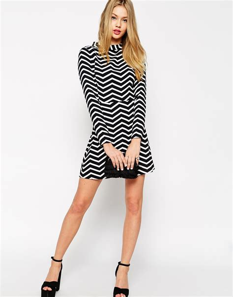 Ll Mono Line Dress lyst asos a line dress with funnel neck in monochrome zig zag print in black