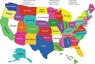 free colorful usa map with states vector vector