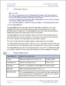business needs statement template – ms word 2003/2007