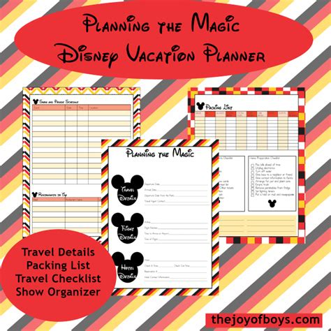 printable disneyland vacation planner disney vacation planner the joys of boys