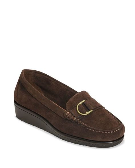 parisian loafers aerosoles parisian suede wedge loafers in brown brown