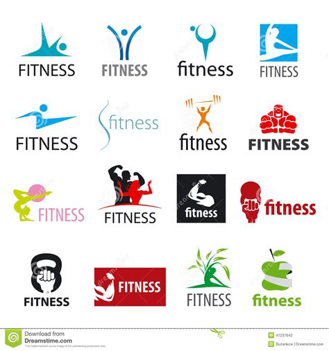 Fitness World Logo 9 vector logos fitness and sports stock vector image 47237642