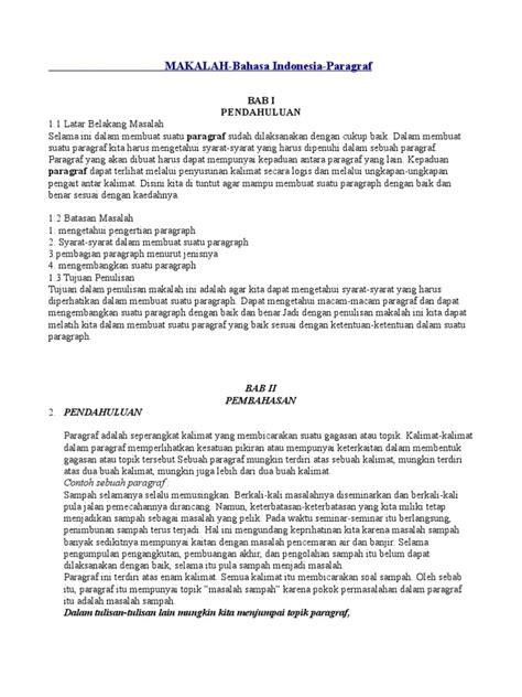 sebutkan syarat membuat rumusan masalah yang baik makalah paragraf bahasa indonesia
