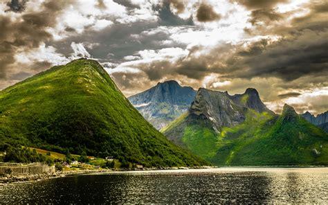 summer landscape green norwegian mountains rocky peaks