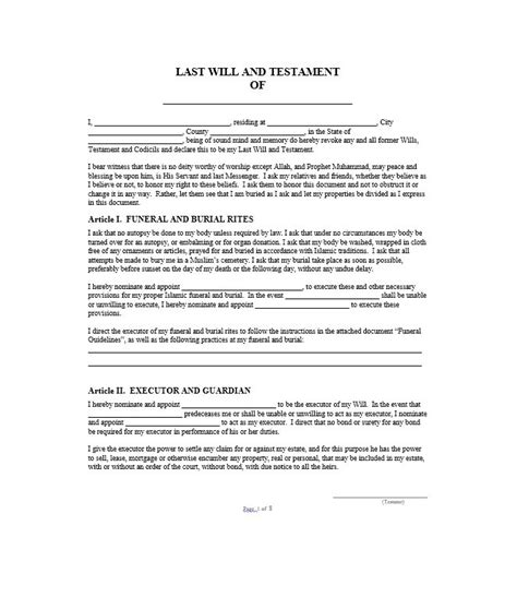 last will and testament free template last will and testament form pdf