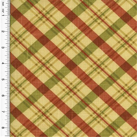 Plaid Home Decor Fabric by Designer Cotton Chit Chat Red Green Plaid Print Home