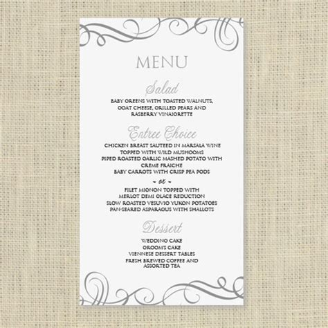 template for menu card wedding menu card template instantly by