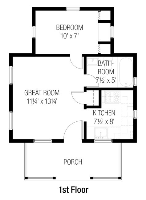 one bedroom house plans cottage style house plan 1 beds 1 baths 384 sq ft plan 16556 | w1024