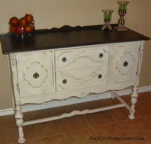 Antique White Buffet Table Antiqued White Buffet With Brown Top Facelift Furniture
