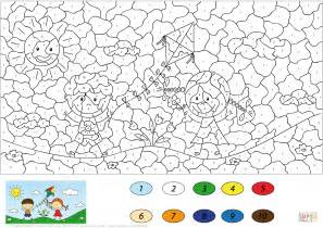 Boy And A Girl Launching A Kite Color By Number Coloring Color By Number For Boys Free