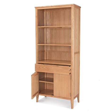oak bookcase with doors palma solid oak furniture large cupboard bookcase