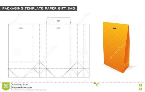 paper gift bag template packaging template paper gift bag stock vector