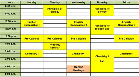 college school schedule template how scheduling classes in college is a struggle