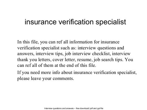 Insurance Verification Letter Insurance Verification Specialist