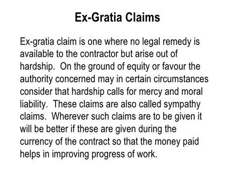 ex gratia payment letter template construction claims