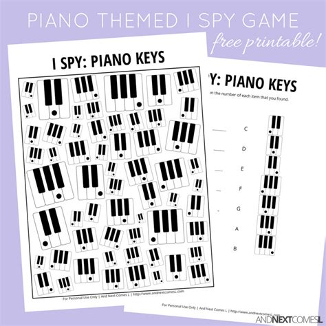 printable games for music piano keys themed i spy game free printable for kids