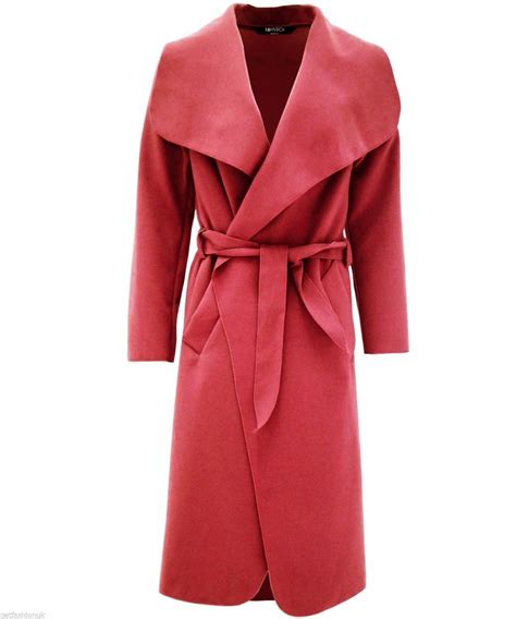 drape coat womens new womens drape belt waterfall long coat abaya sleeve