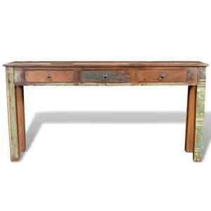 vidaxl co uk reclaimed wood side table with 3 drawers