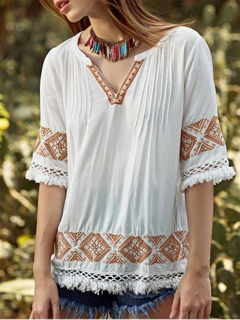 3 4 Sleeve Embroidery Blouse embroidery v neck 3 4 sleeve blouse white blouses s zaful